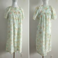 JCPenny Womens Vtg 70s Thin Cotton Lace Trim Nightgown Short Sleeve Midi