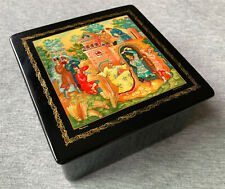 Vintage Russian Soviet Ussr Hand-painted Black Lacquer Mstera Box – Detailed Art