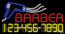"""New """"Barber"""" 32x17 w/Your Phone Number Solid/Animated Led Sign 25046"""