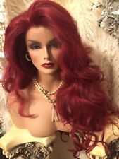 """Fiery RED 32"""" Human Hair Blend, Check The Updo & Styles! Awesome Lace Front Wig!"""