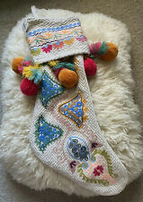 Anthropologie Glitterville Pom-pom Christmas Stocking Anthropology New Boot Pink