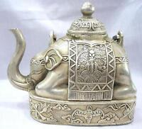 Collection Auspicious Chinese Tibet Miao silver carved elephant shape art teapot