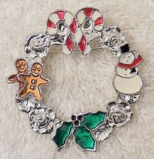 Candy Cane Snowman Silver Tone X18F Christmas Pin Brooch Decorated Wreath Bow