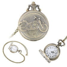 Vintage Antique Alloy Retro Motorcycle Necklace Pendant Chain Pocket Watch Gifts