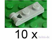 LEGO - 10 x Platte 1x2 hellgrau mit Halter an Längsseite / 60478 NEUWARE