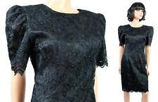 80s Cocktail Dress XS Vintage Black Lace Satin Short Mini Prom Gown Plunge Back