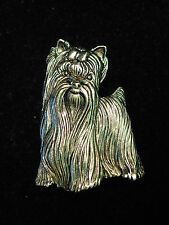 """JJ"" Jonette Jewelry Antique Gold Pewter Cutie Pie YORKSHIRE TERRIER Dog Pin"