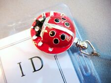 Ladybug ID Reel Badge Holder Black/Silver/Red-for RN Teacher Nurse Anyone-25""