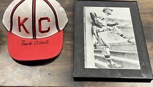 Buck O'Neil Autographed Baseball Hat & photo KC Monarchs Negro League COA
