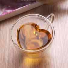 240ml Heart Shaped Double Wall Layer Clear Glass Tea Cup Lover Coffee Mug Gift