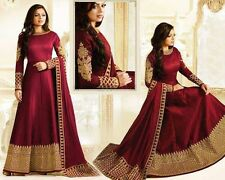 long Anarkali Salwar Kameez Indian Bollywood Wedding wear maroon silk suit dress