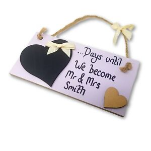 Personalised Wedding Mr & Mrs Countdown Plaque with Heart-Shaped Chalkboard