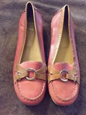 Heyraud Women's Moccasins Loafer Red Tan Sz 38 Made in Italy Preowned