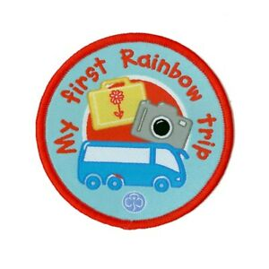 Rainbows My First Rainbow Trip Woven Badge. OFFICIAL SUPPLIER.