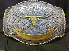 Longhorn with Ribbon Detailed Belt Buckle Silver and Gold