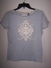 NWT iJeans Womens Blue Burnout T Shirt Top Size S Aztec Western