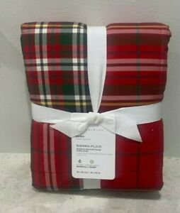 Pottery Barn Sierra Plaid Sherpa EURO sham CHRISTMAS matches comforter