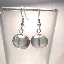 AURORA BOREALIS GLASS 12 MM GLOBE DANGLE EARRINGS W.SURGICAL STEEL EAR WIRES #9