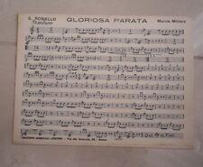 GLORIOSA PARATA MARCIA MILITARE ROSIELLO TAMBURO SPARTITO MUSICALE ANNI '50 CA