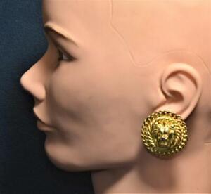 Vintage ANNE KLEIN Goldtone Polished LION HEAD Round Shape Pierced Earrings #3