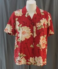 Alfred Dunner Petite, 14P, Adventura Brick Red Floral Button Front Top, NWT