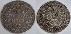 ORIGINAL 1557 POLAND KING SIGISMUND II ONE GROSCHEN (1/24 THALER) SILVER AR COIN