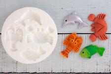 Fish, Crab, Lobster, Dolphin Food Grade Silicone Sugar craft/fimo Mould M006