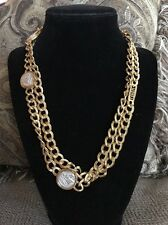 Monet Gold Tone Textured Link Chain Silver Roman Coin Single Strand Necklace 40