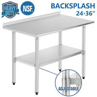 "24""x36"" Commercial Stainless Steel Kitchen Prep Work Table Backsplash Restaurant"