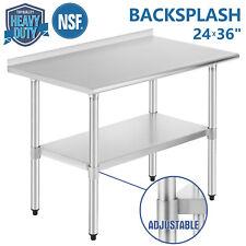 """24""""x36"""" Commercial Stainless Steel Kitchen Prep Work Table Backsplash Restaurant"""