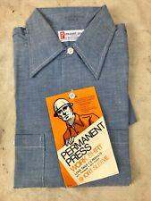 Vtg Dead Stock Chambray Button Up Work Shirt Permanent Press Short Sleeve Nos