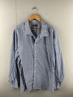 Mr Bigg Men's Long Sleeved Button Up Shirt Size 6XL Blue Check