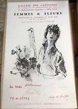 Brenot Exhibition Poster 1965 Pierre Laurent Art Femmes Fleurs Preview Paris