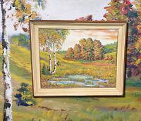 Herbstliche Landschaft mit Teich und Waldrand. Schönes altes Ölgemälde Malerei
