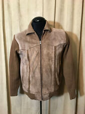 Mens Vtg 1970s Oakton Ltd Sweater/Jacket Acrylic Leather Size M Brown