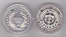 TURKEY SILVER PROOF 50000 LIRA COIN 1993 YEAR KM#1044 SUPREME COURT MINTAGE 1052