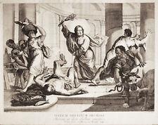 Gesù Scaccia i Mercanti dal Tempio - Incisione Originale 1700