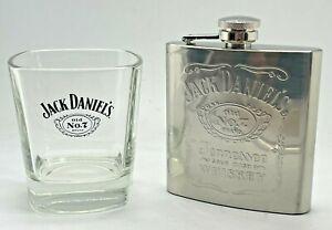 JACK DANIELS GLASS & 6 OZ HIP FLASK - PUB BAR HOME WHISKEY WHISKY TUMBLER
