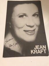 Opera singer Jean Kraftautographed  program Y580