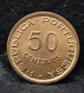1957 Portuguese Angola (Colony) 50 centavos, mostly red UNC, KM-75 (AN3)