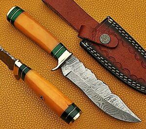 Handmade Damascus Steel Hunting Knife YELLOW Bone Brass Handle W/ Leather Sheath