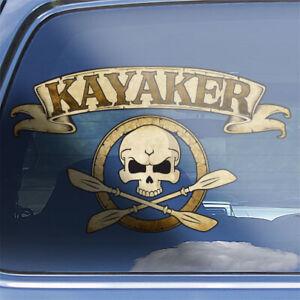 Kayaker crossbones decal - kayaking paddle river lake kayak skull badge sticker