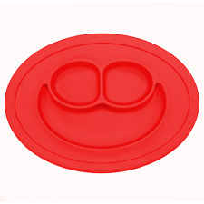 Silicone Baby Placemat - Round No Slip With Built in Plate/Bowl/Tray - Red