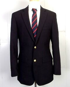 euc Pronto Uomo Solid Black 85% Wool Poly Men's Blazer Sportcoat gold btns 38 L
