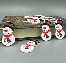 25pcs Mr. Snowman Wooden Buttons Fit Sewing crafts scrapbooking Christmas 36mm