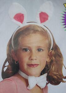 Bunny Rabbit Costume Kit White Pink Felt Ears Headband Pompom Tail Bow Tie b13