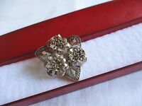 VINTAGE WHITE METAL FILIGREE FLOWER  BROOCH