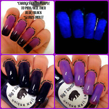 Color Changing Thermal Nail Polish - Ombre Purple, Pink, Blue, Black, Glows Blue