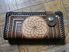 Handmade Stamped Leather Tucker Style Wallet