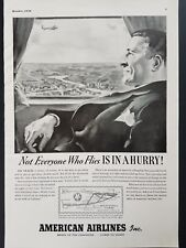 American Airlines 1939 Vintage Print Ad Flagship Travel Agent Decor Aviation Map